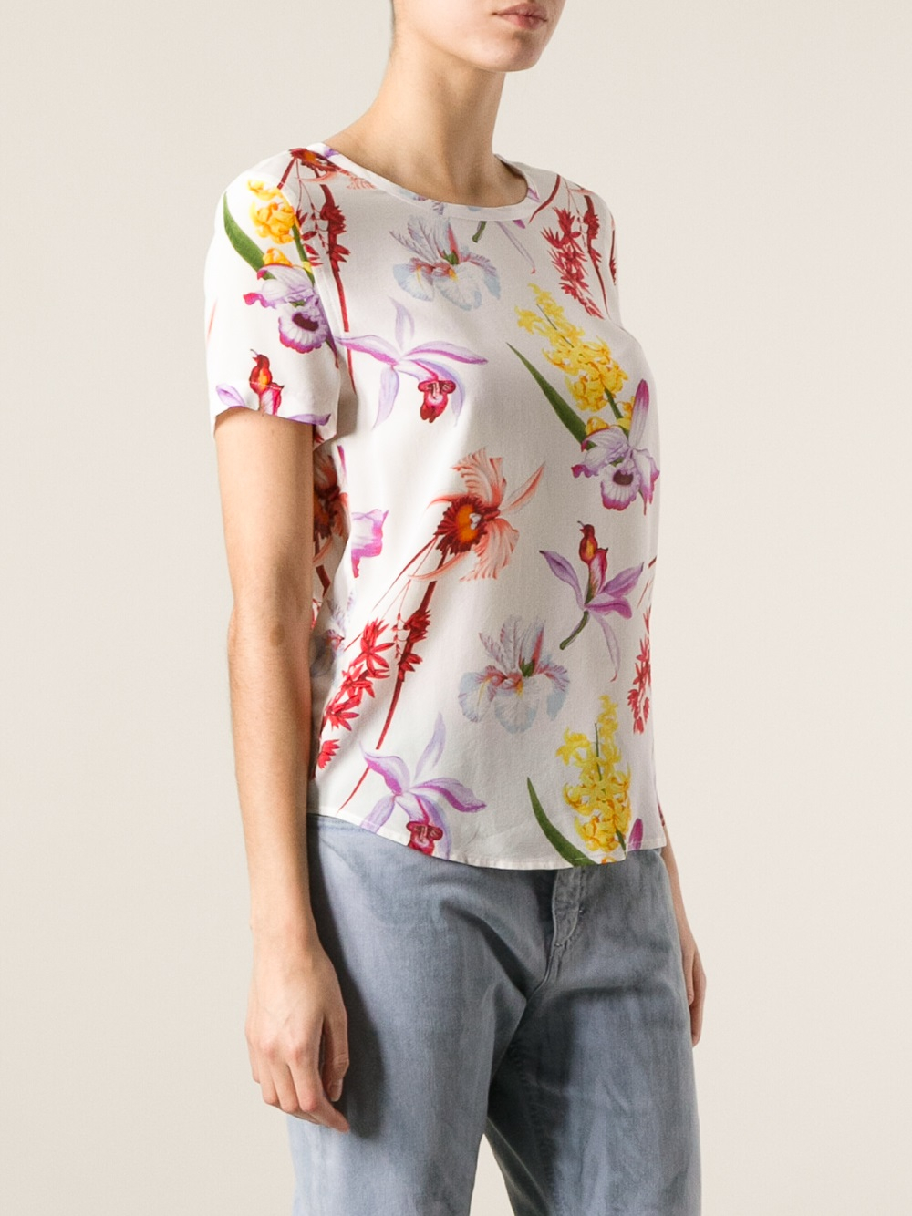 Lyst equipment floral print t shirt in white for T shirt printing supplies wholesale