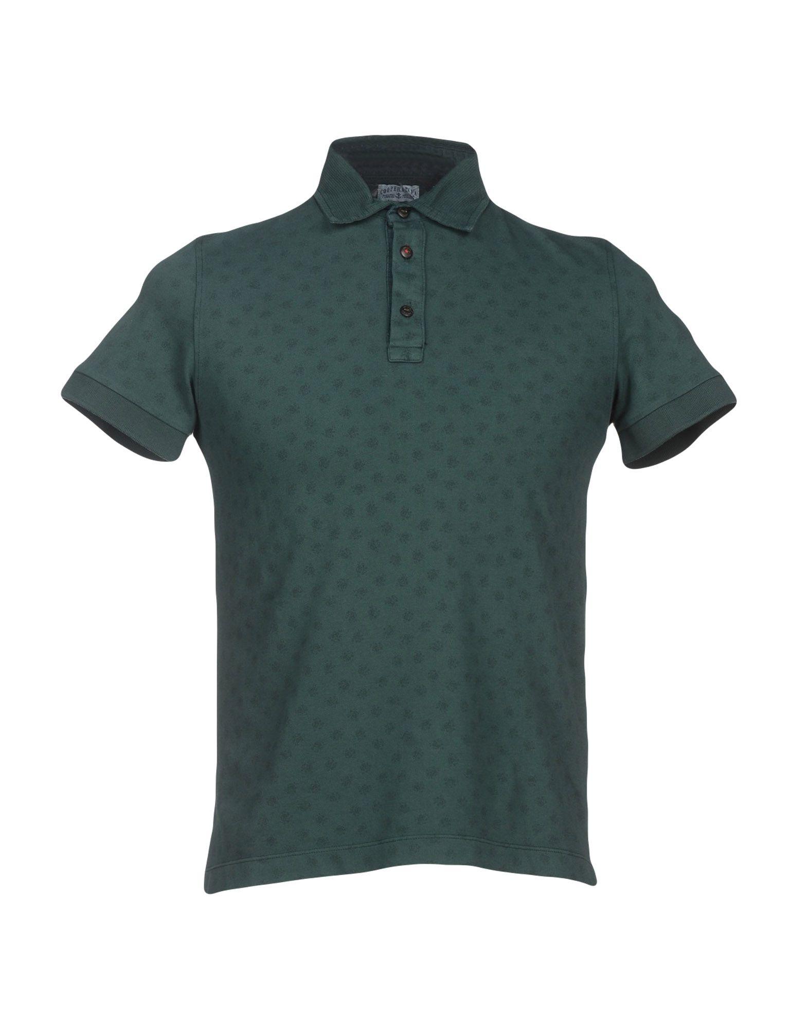 Cooperativa pescatori posillipo polo shirt in green for for Dark green mens polo shirt