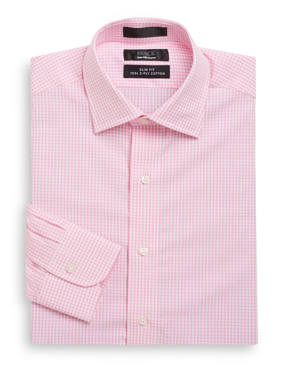 Saks fifth avenue black label slim fit mini gingham two for 2 ply cotton dress shirt