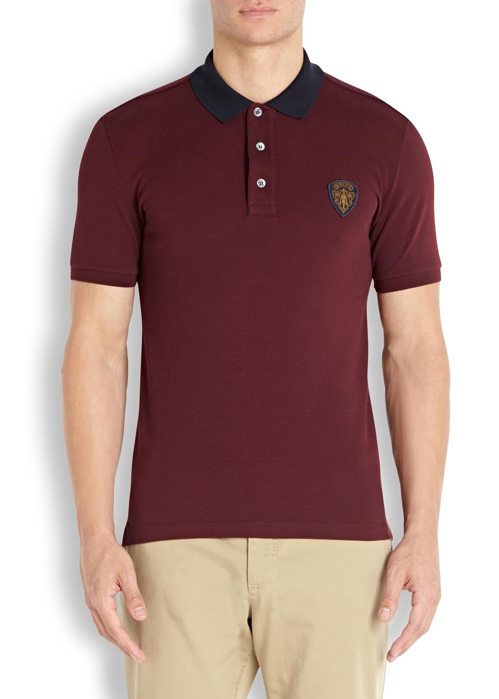 261aa05a4 Gucci Burgundy Piqué Cotton Polo Shirt in Purple for Men - Lyst