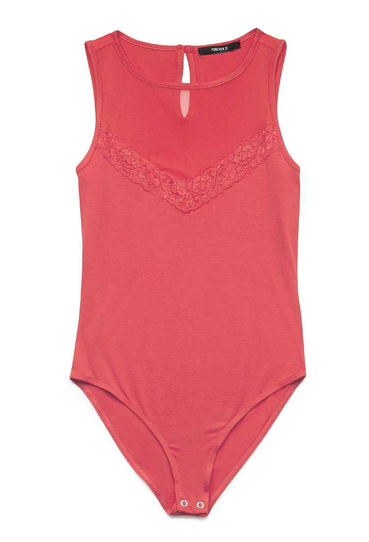 Forever 21 Lady Lace Bodysuit in Pink (Coral)   Lyst