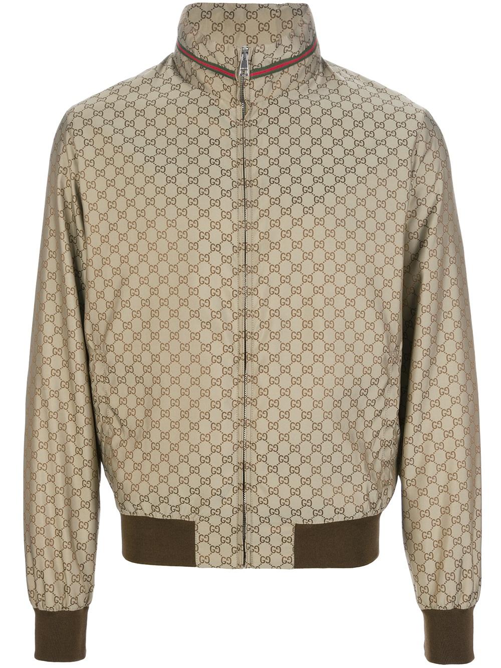 1cda8f34f Gucci Logo Print Bomber Jacket in Metallic for Men - Lyst
