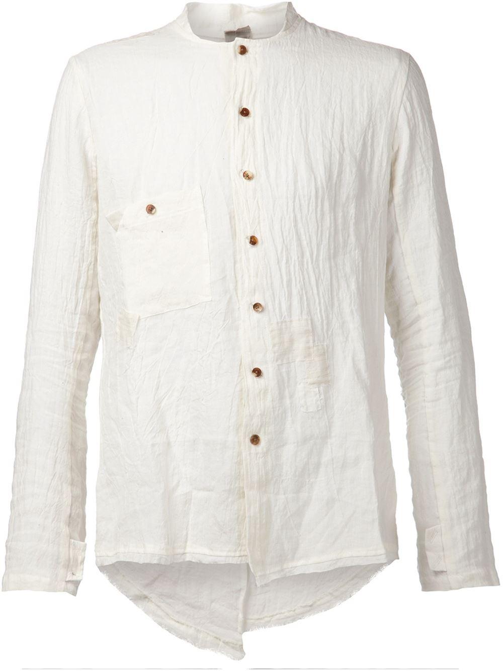 Lyst aleksandr manam s creased collarless shirt in white for Collarless white shirt slim fit