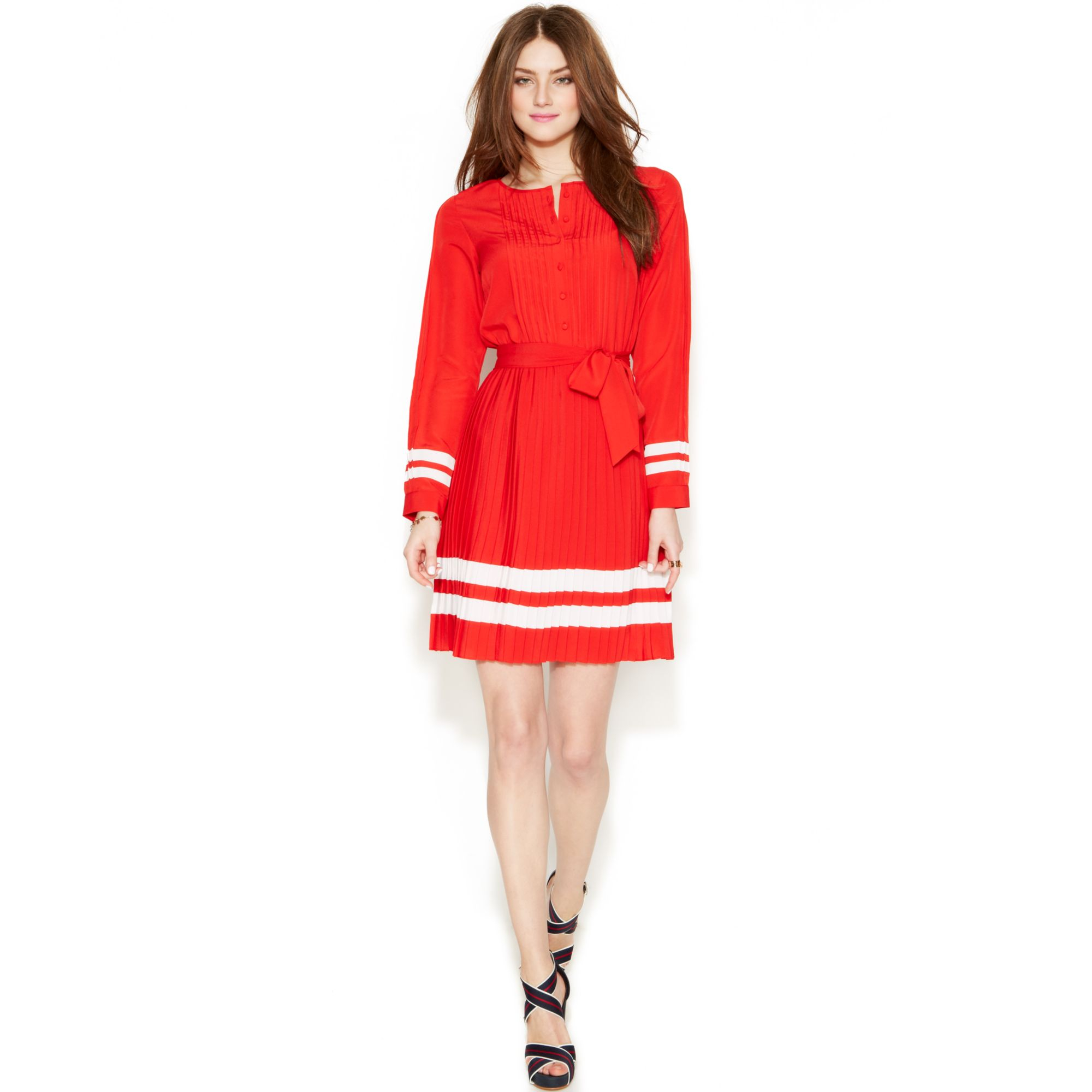 Tommy Hilfiger Zooey Deschanel For Pleated Dress In Red Lyst