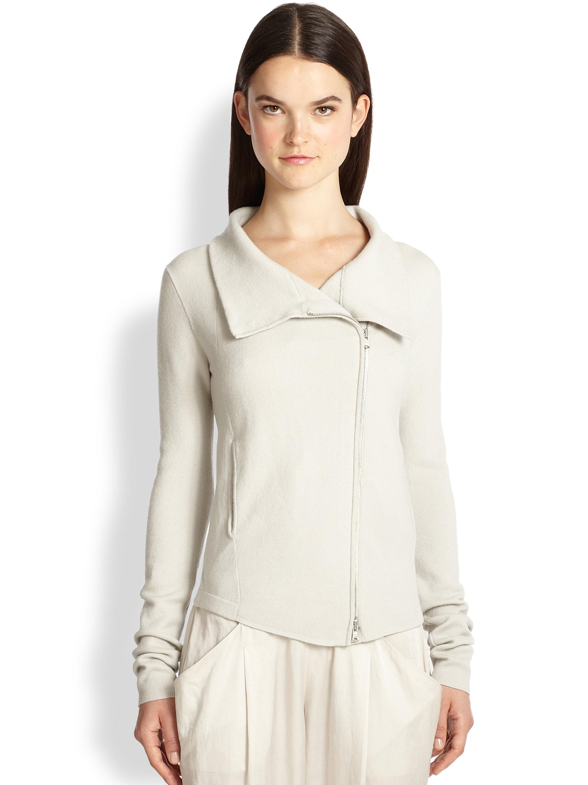 lyst donna karan stretch cashmere zipper cardigan in white. Black Bedroom Furniture Sets. Home Design Ideas
