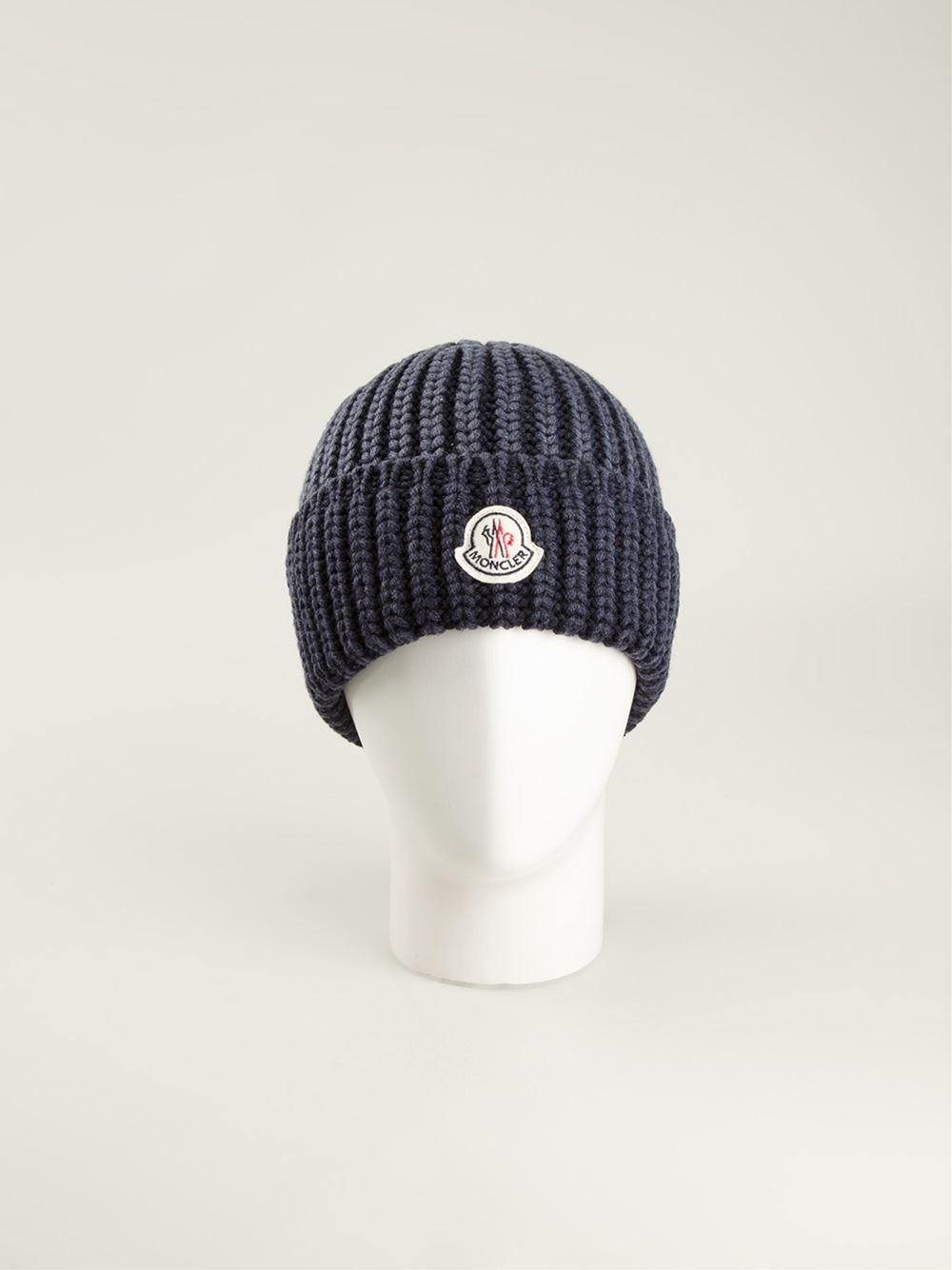 c030dbe8082 Lyst - Moncler Ribbed Beanie in Blue for Men