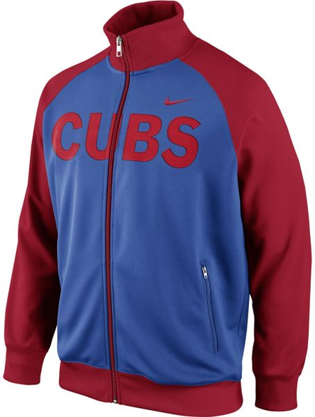 nike mens chicago cubs track jacket in blue for
