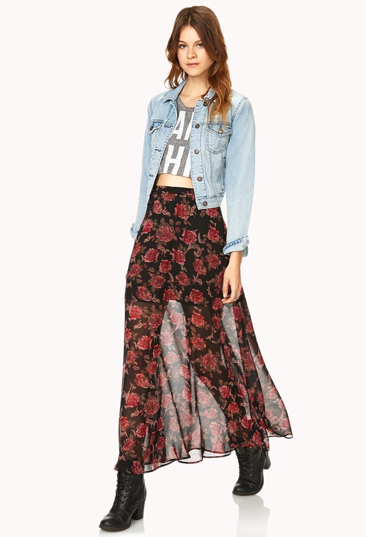 d90dda99a3 Forever 21 Floral Print M-slit Skirt in Black - Lyst