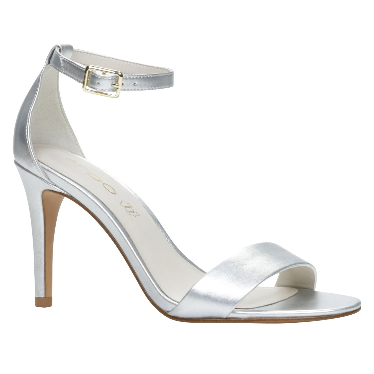 silver high heels with ankle strap
