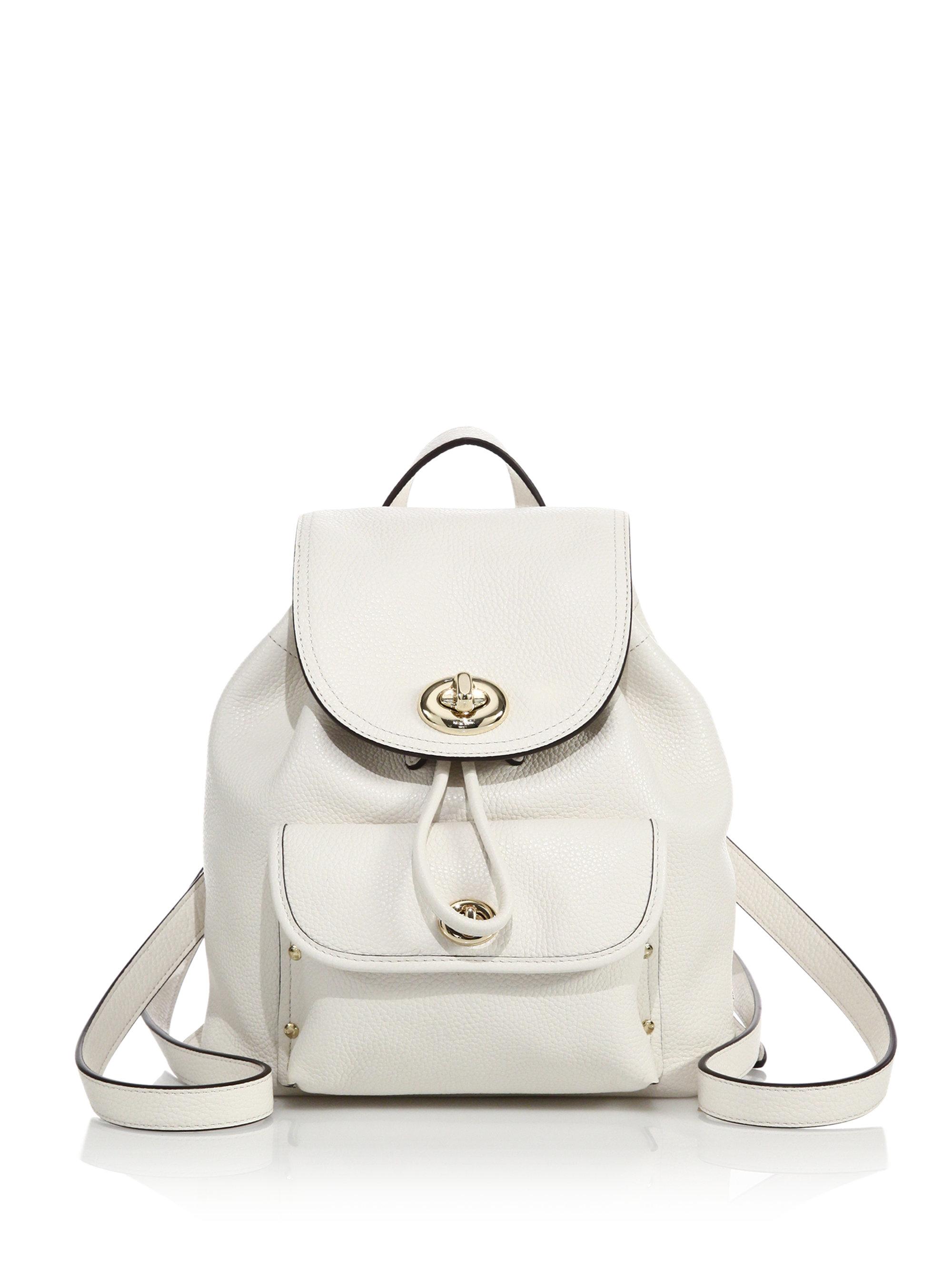 Switzerland Lyst Coach Mini Leather Turnlock Backpack In White E0f85 48626