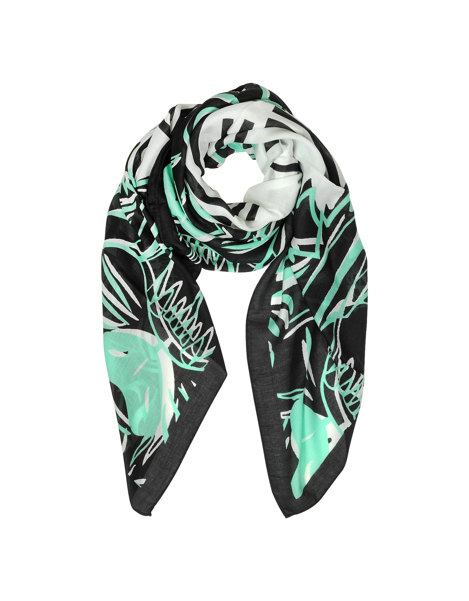 Lyst Kenzo Ecru Four Tigers Print Modal Stole In Green