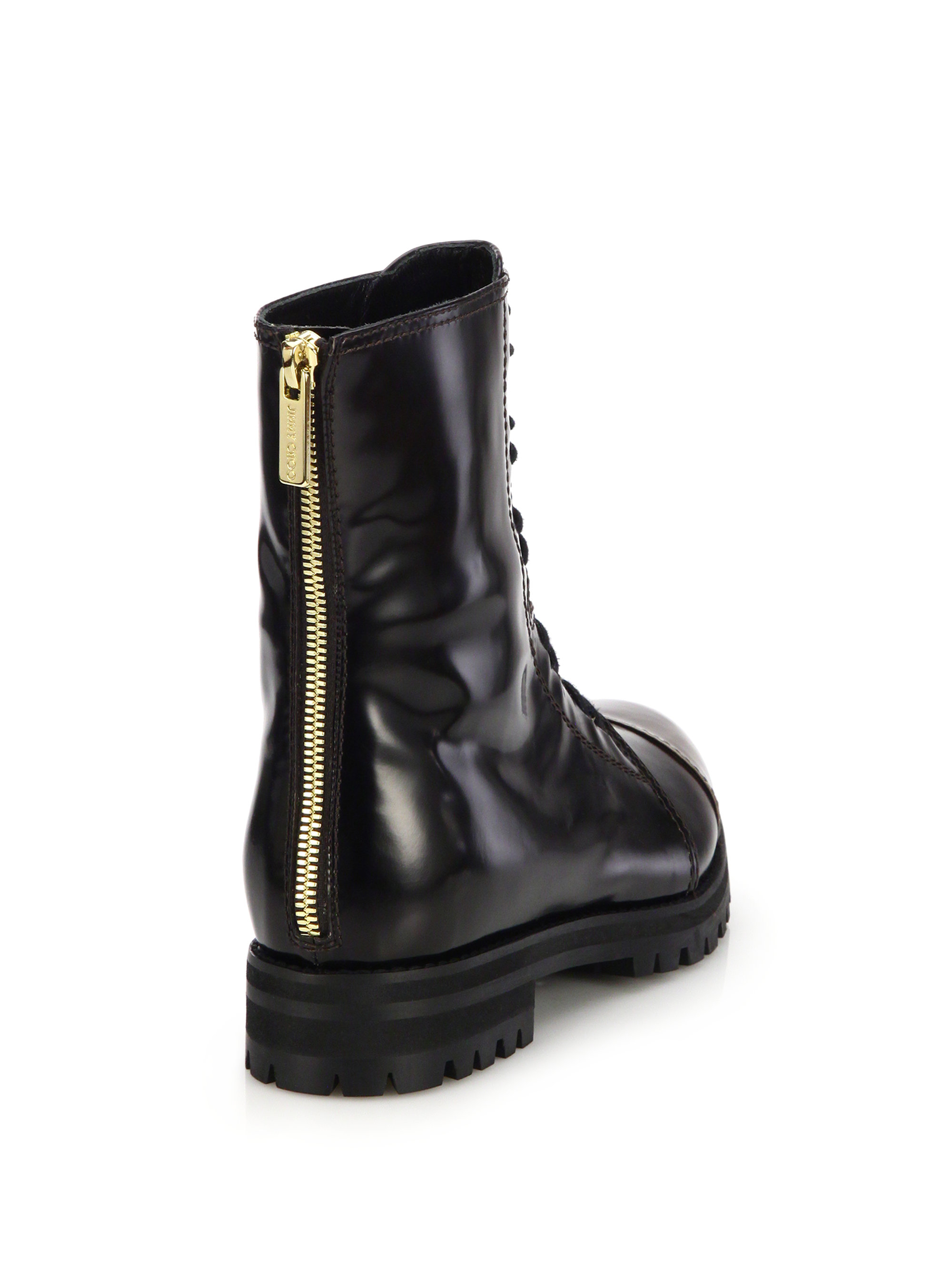 ada26ac10 ... purchase lyst jimmy choo haze glossed leather combat boots in black  54c82 990e4