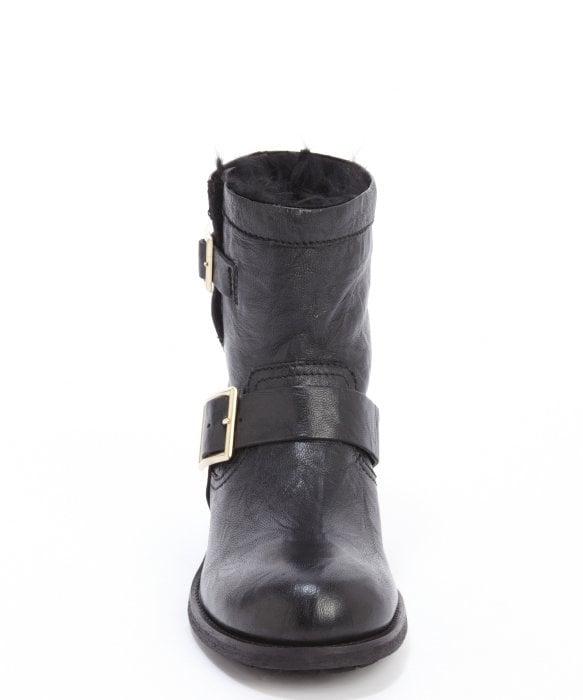 0152e82fbc3c ... spain lyst jimmy choo black leather youth rabbit fur lined biker boots  09132 72918