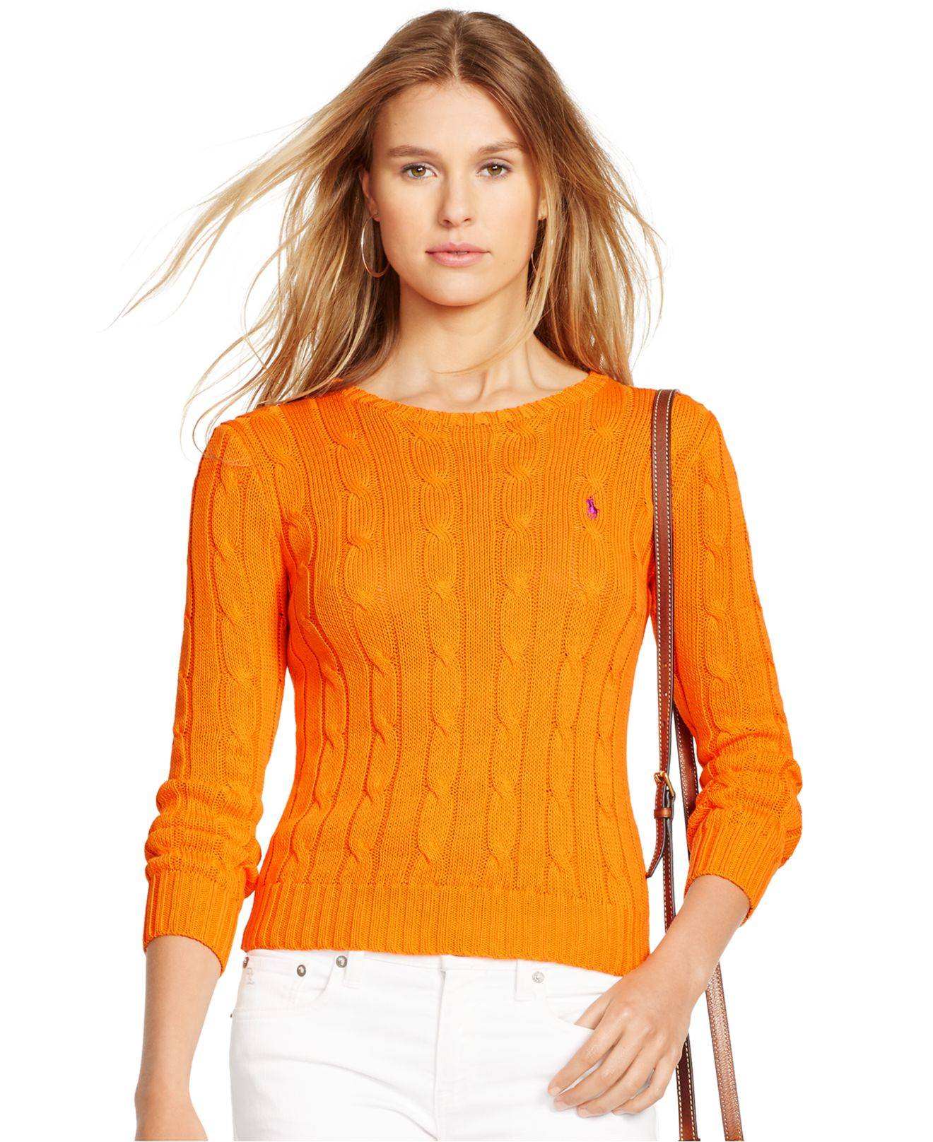 Polo ralph lauren Cable-knit Cotton Sweater in Orange | Lyst