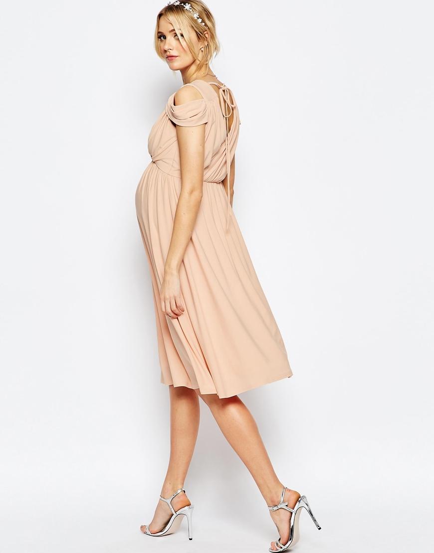 Asos Wedding Drape Cold Shoulder Midi Dress in Blue | Lyst