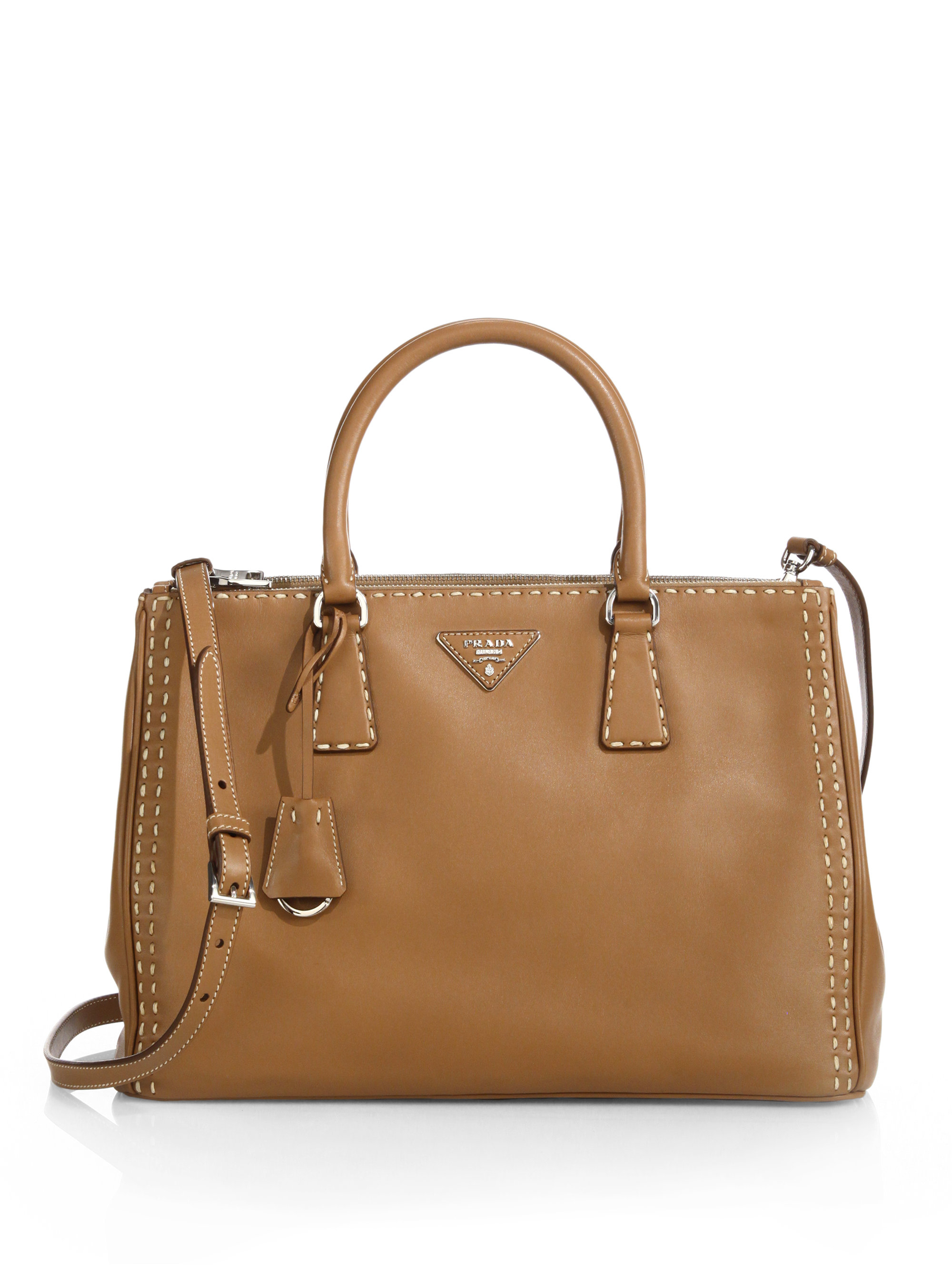 1f0ca15768b2b7 ... spain lyst prada city calf topstitched double zip tote in brown b0d14  6c8a3