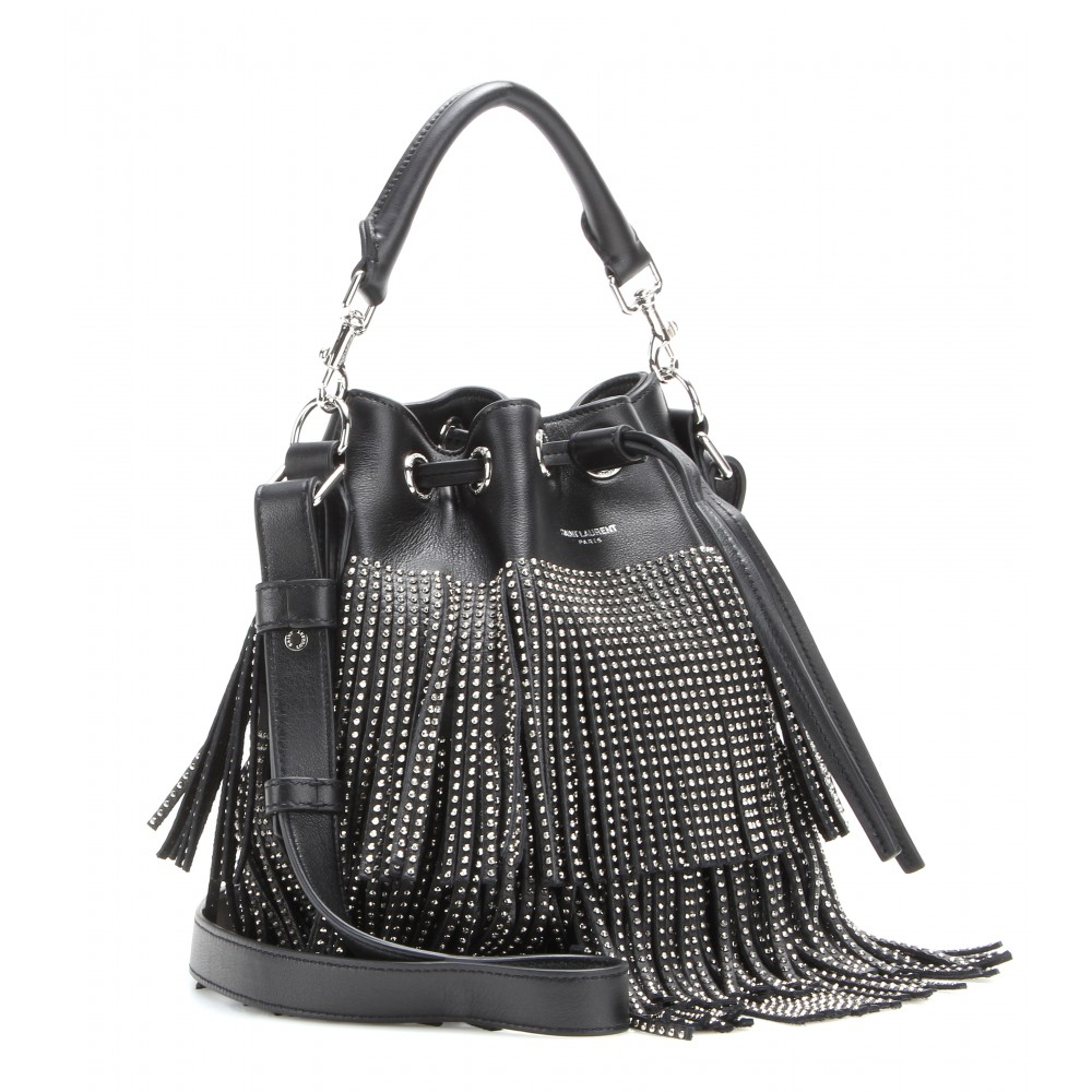 saint laurent emmanuelle embellished fringed leather bucket bag in black lyst. Black Bedroom Furniture Sets. Home Design Ideas