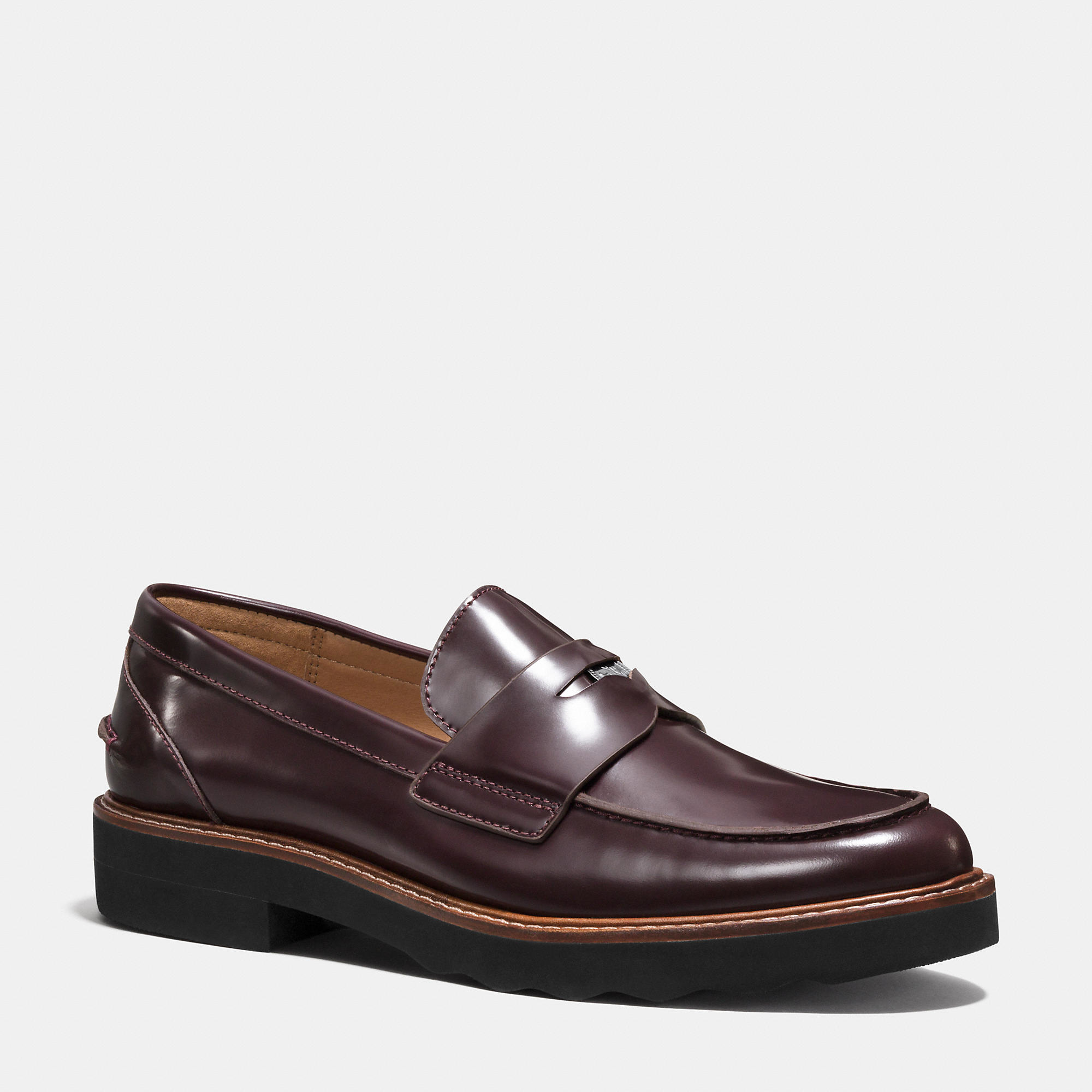 Lyst Coach Indie Leather Loafers In Purple