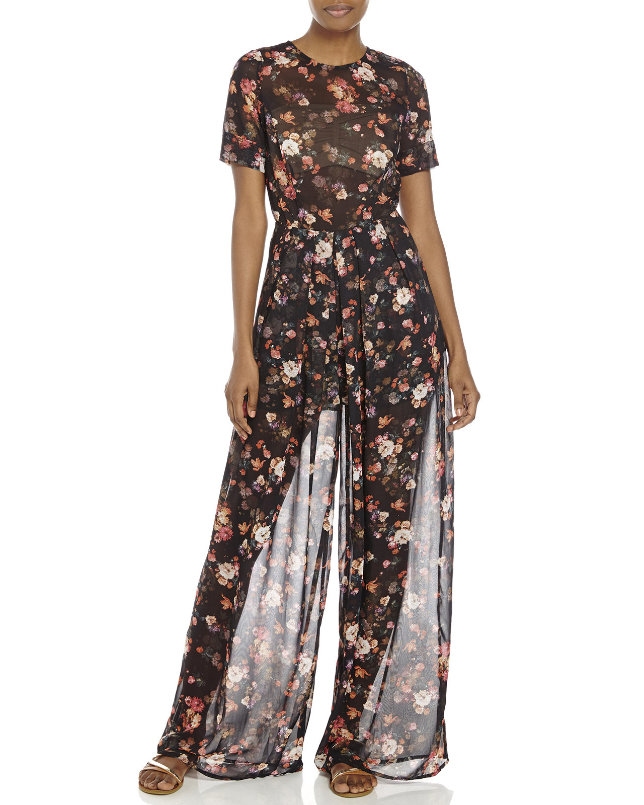 Lyst century 21 re named sheer floral print jumpsuit in for Century 21 dress shirts
