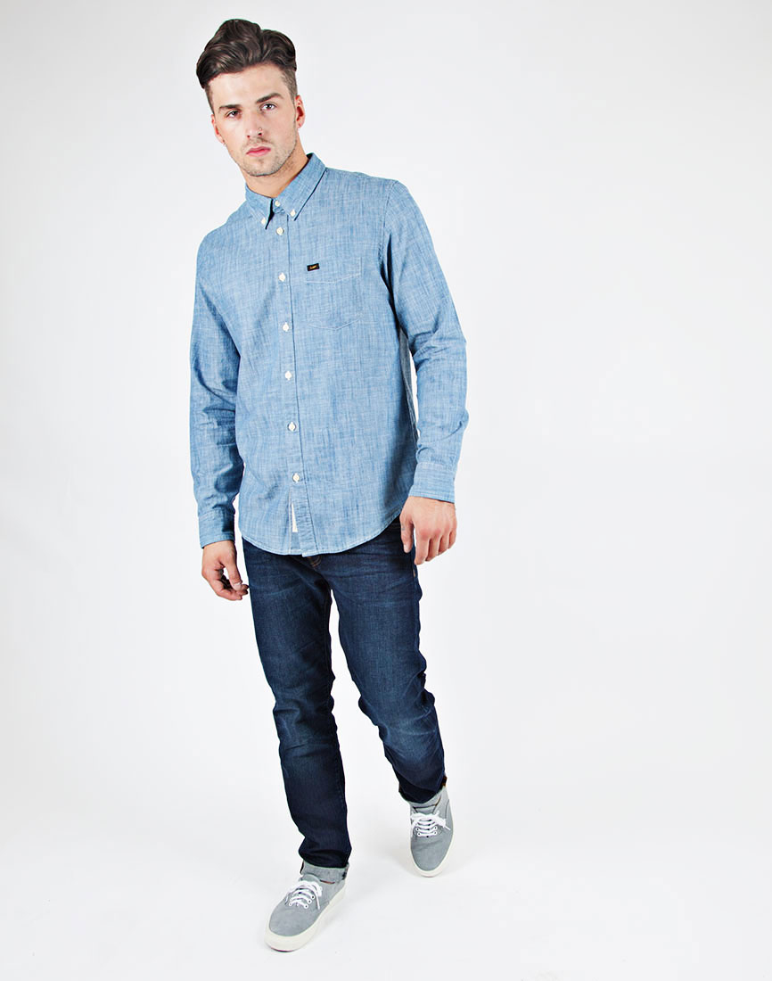 lee jeans button down shirt in indigo chambray in blue for