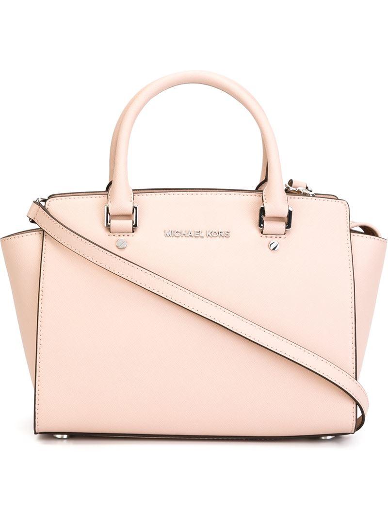 michael michael kors 39 selma 39 medium satchel in pink lyst. Black Bedroom Furniture Sets. Home Design Ideas