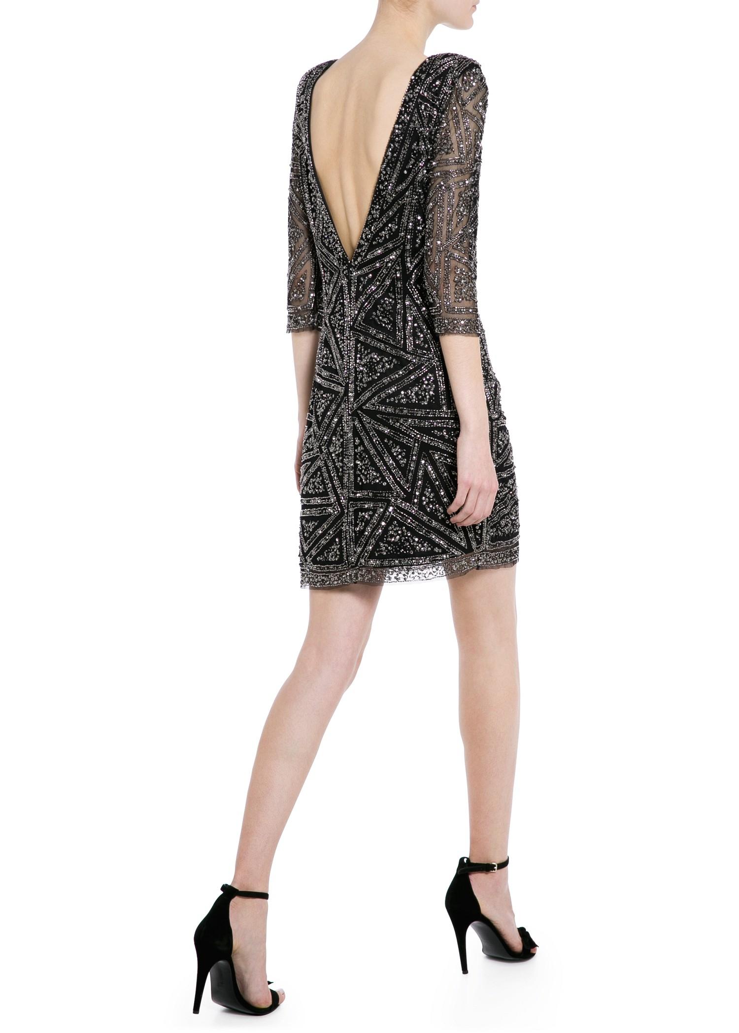 Mango Beaded Sequin Dress in Black | Lyst