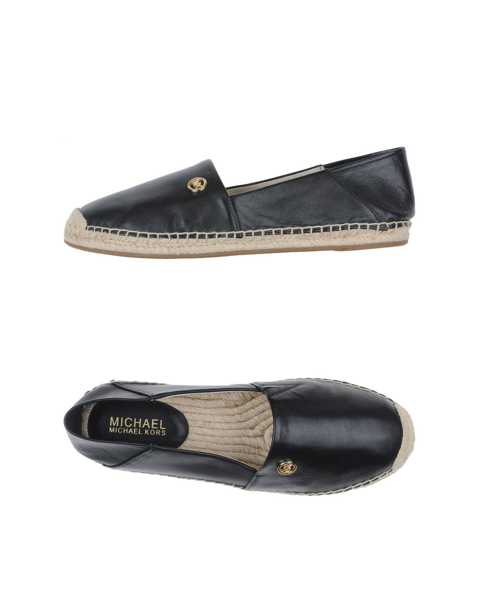michael michael kors logo embossed leather espadrilles in black lyst. Black Bedroom Furniture Sets. Home Design Ideas