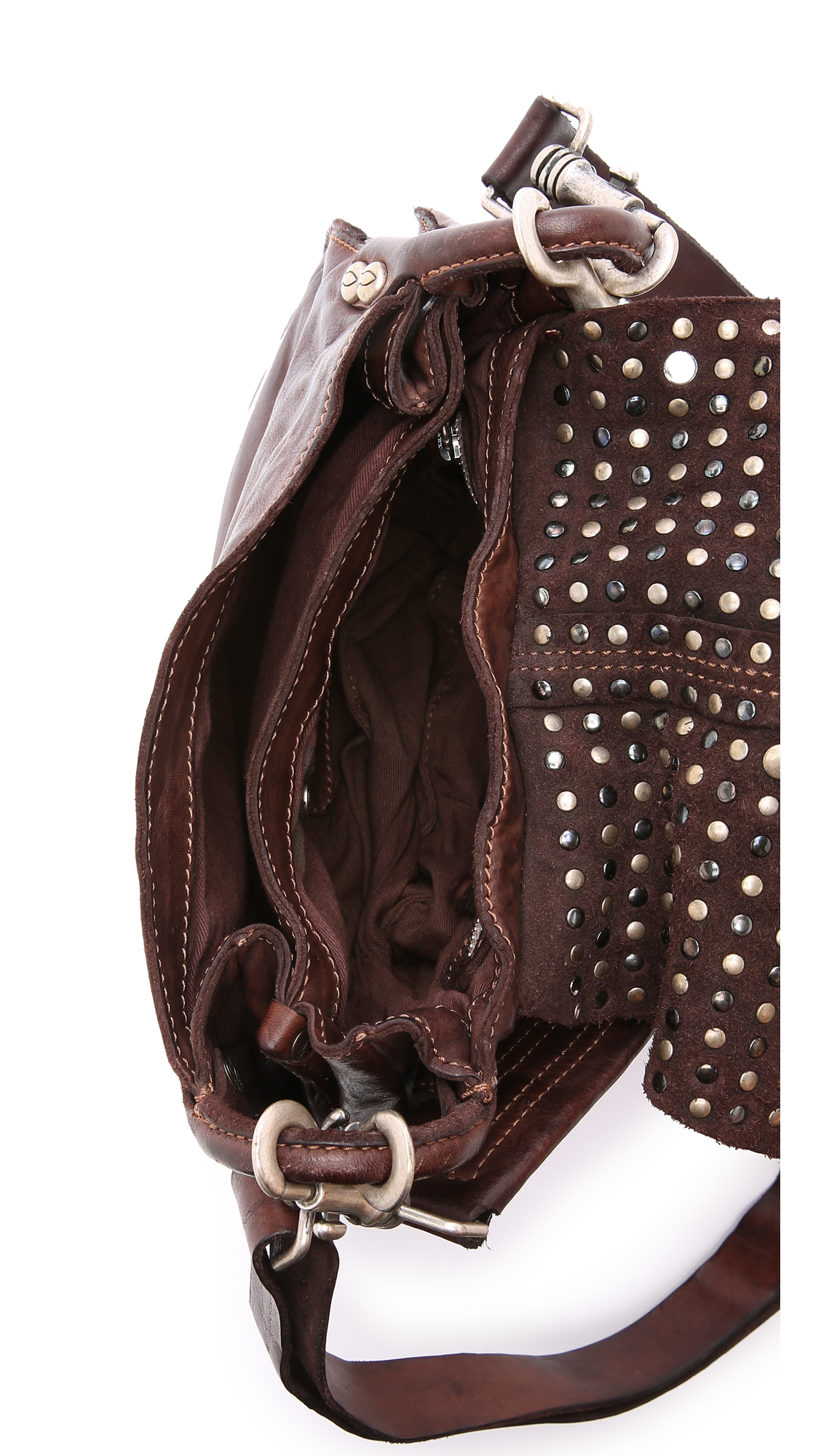 Lyst Campomaggi Studded Medium Cross Body Bag Moro In