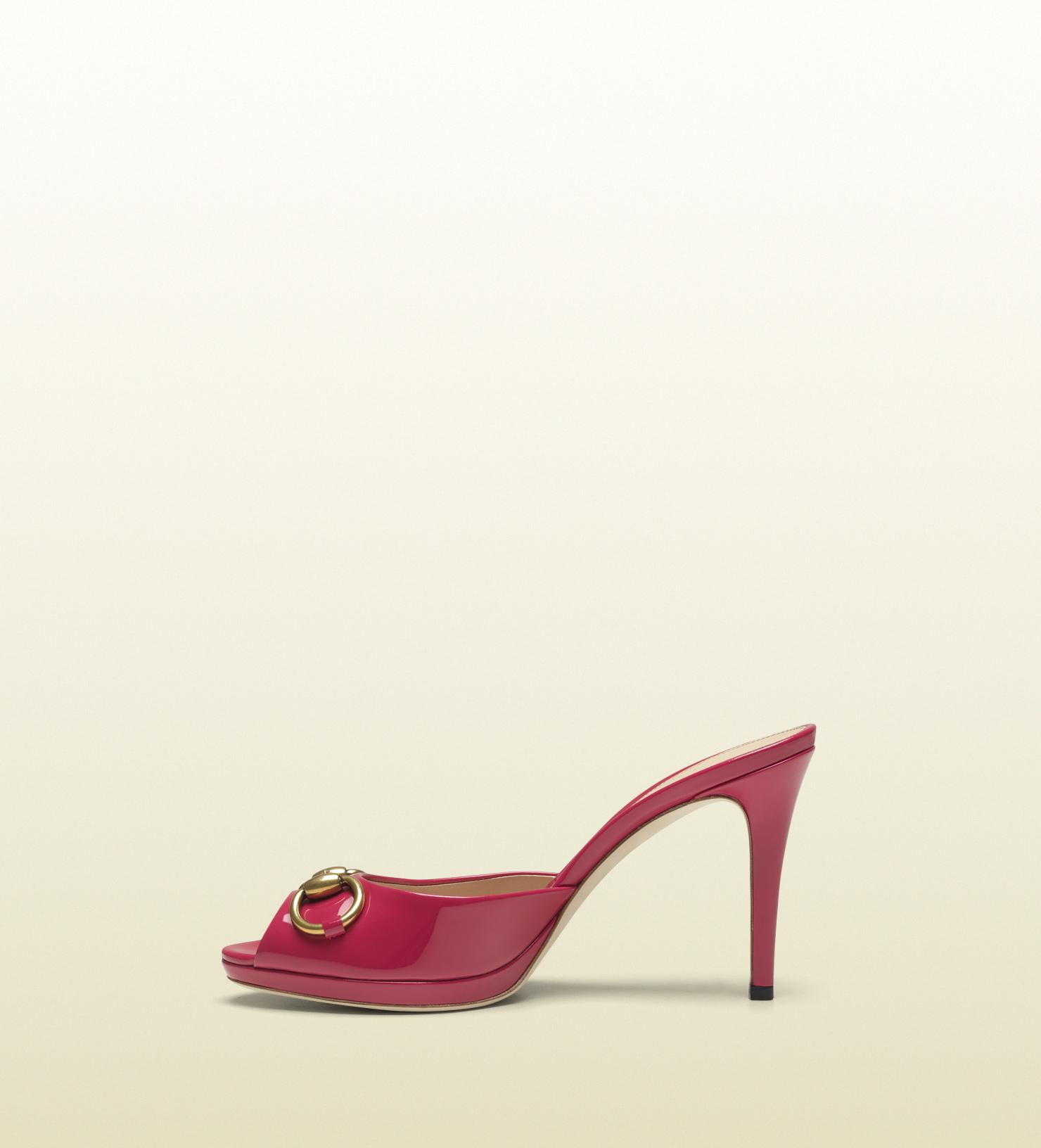 gucci new mid heel platform open toe shoe in