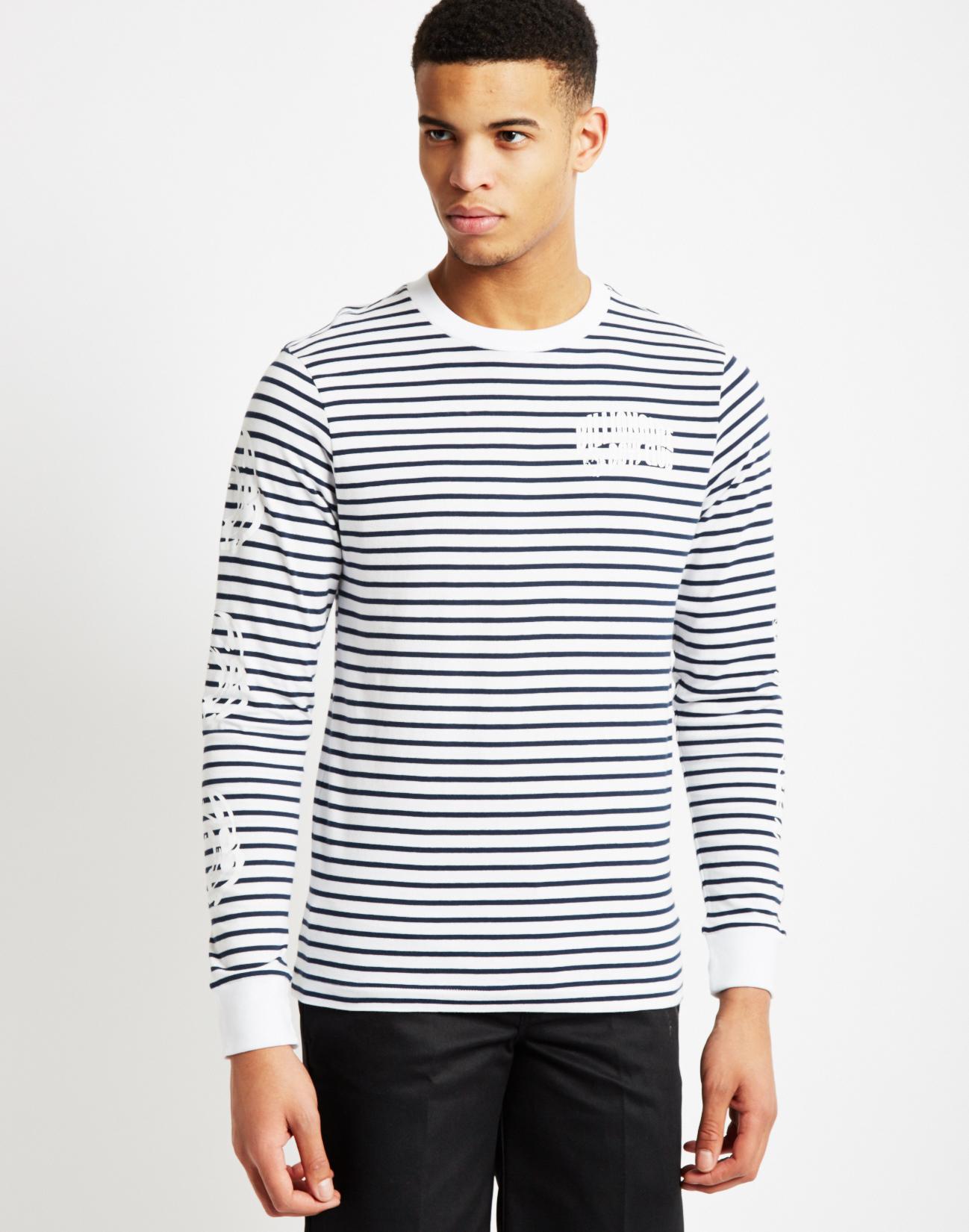 Billionaire boys club ice cream striped long sleeve t for Navy blue striped long sleeve shirt