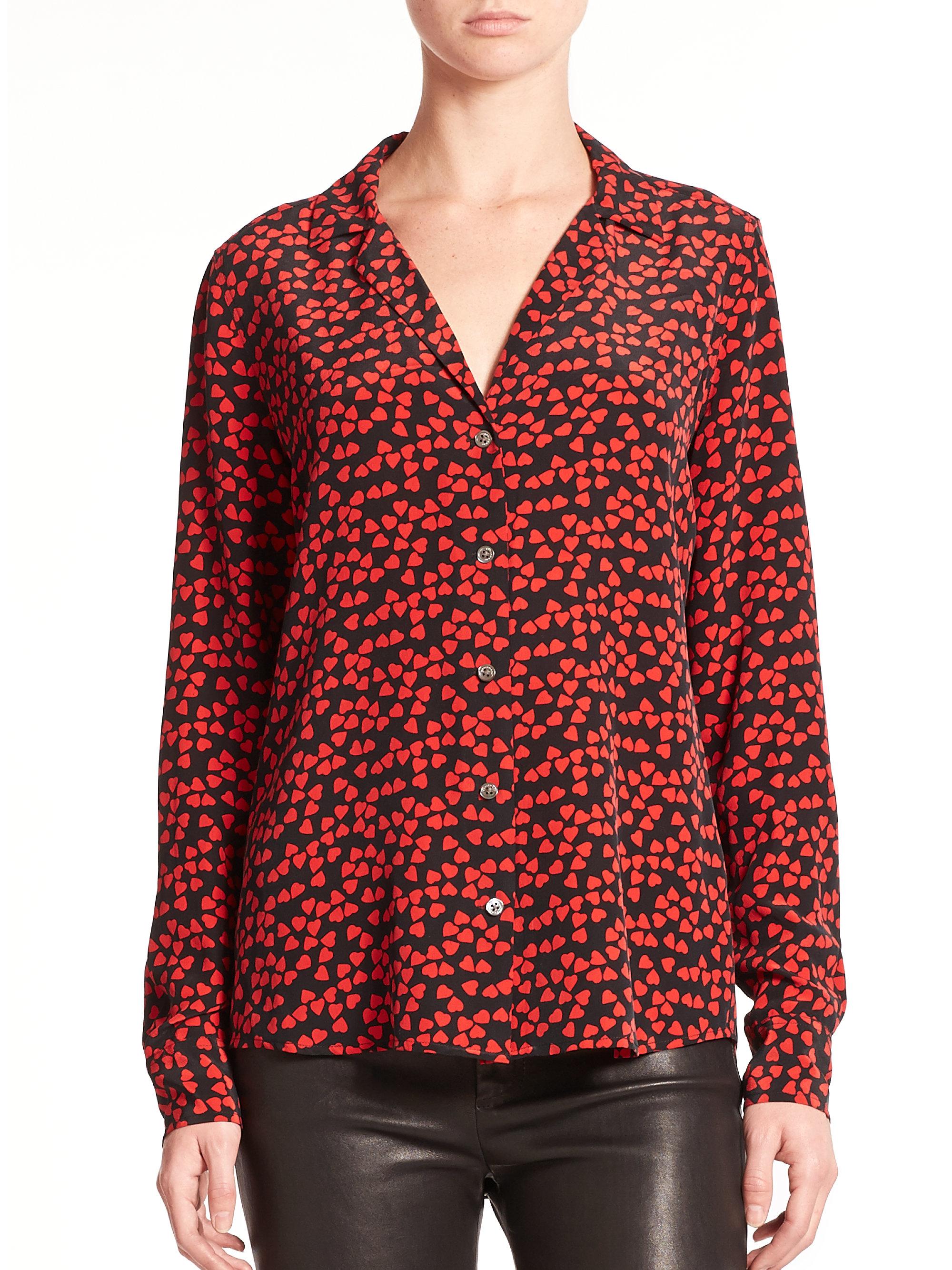 Lyst equipment silk adalyn shirt in red for Equipment black silk shirt