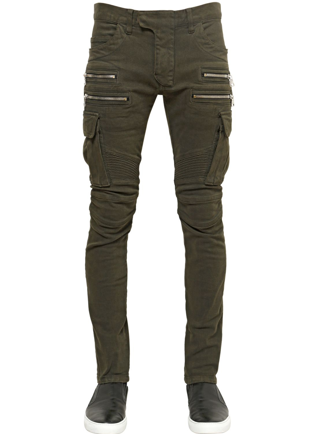 Lyst Balmain 165cm Cotton Denim Cargo Biker Jeans In