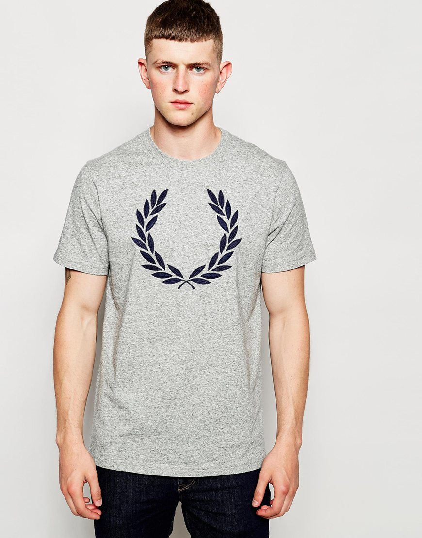 fred perry t shirt with laurel wreath logo grey in gray for men lyst. Black Bedroom Furniture Sets. Home Design Ideas
