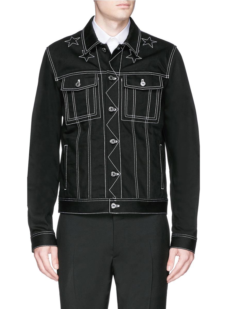 Lyst Givenchy Star Stitching Denim Jacket In Black For Men