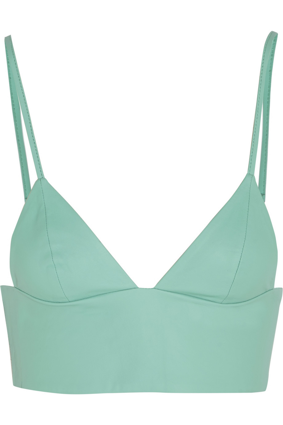 8e4c42576 T By Alexander Wang Leather Bra Top in Green - Lyst