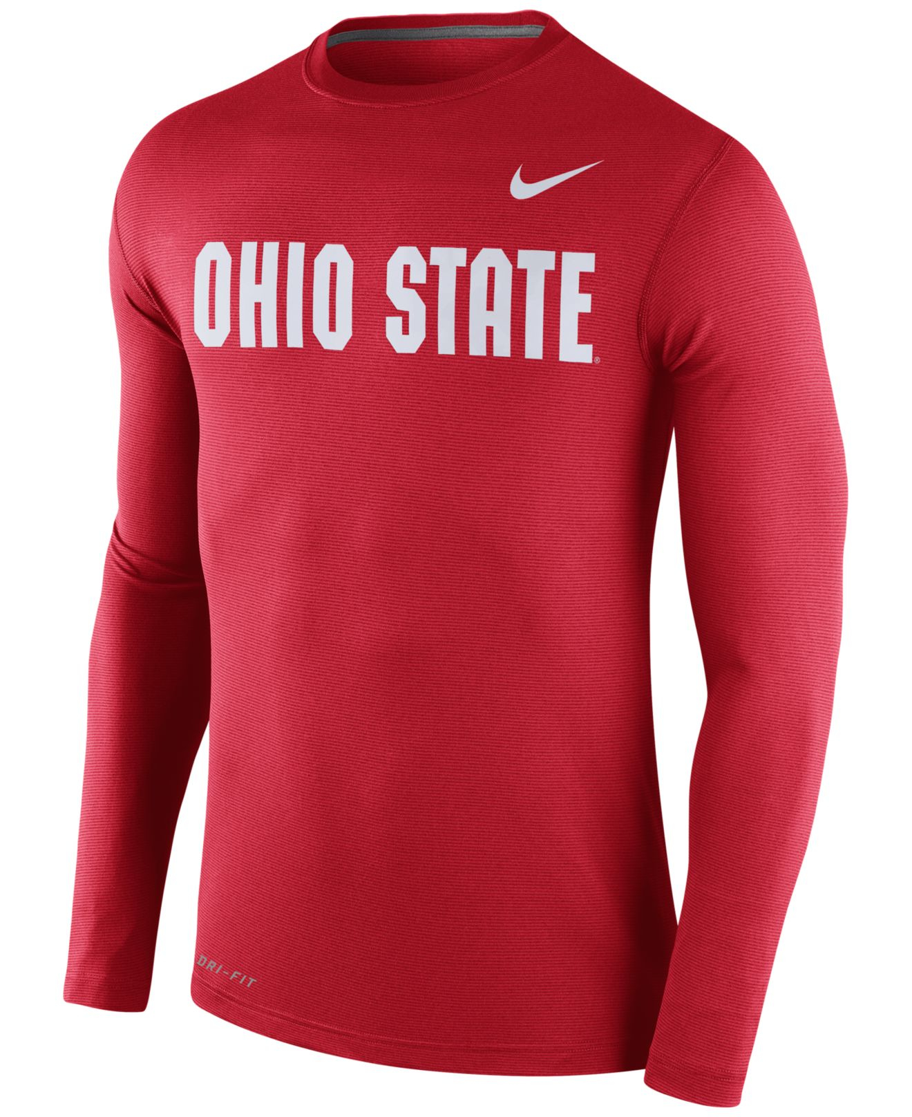 Nike men 39 s long sleeve ohio state buckeyes dri fit t shirt for Ohio state shirts mens