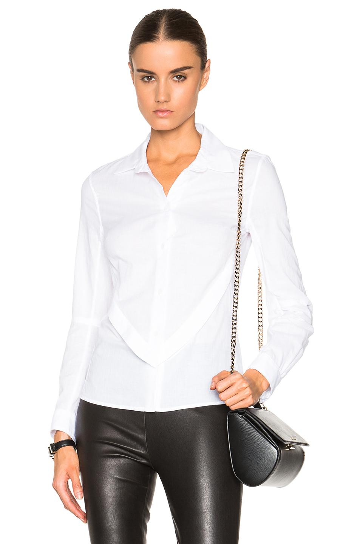 lyst ann demeulemeester cotton button down shirt in white