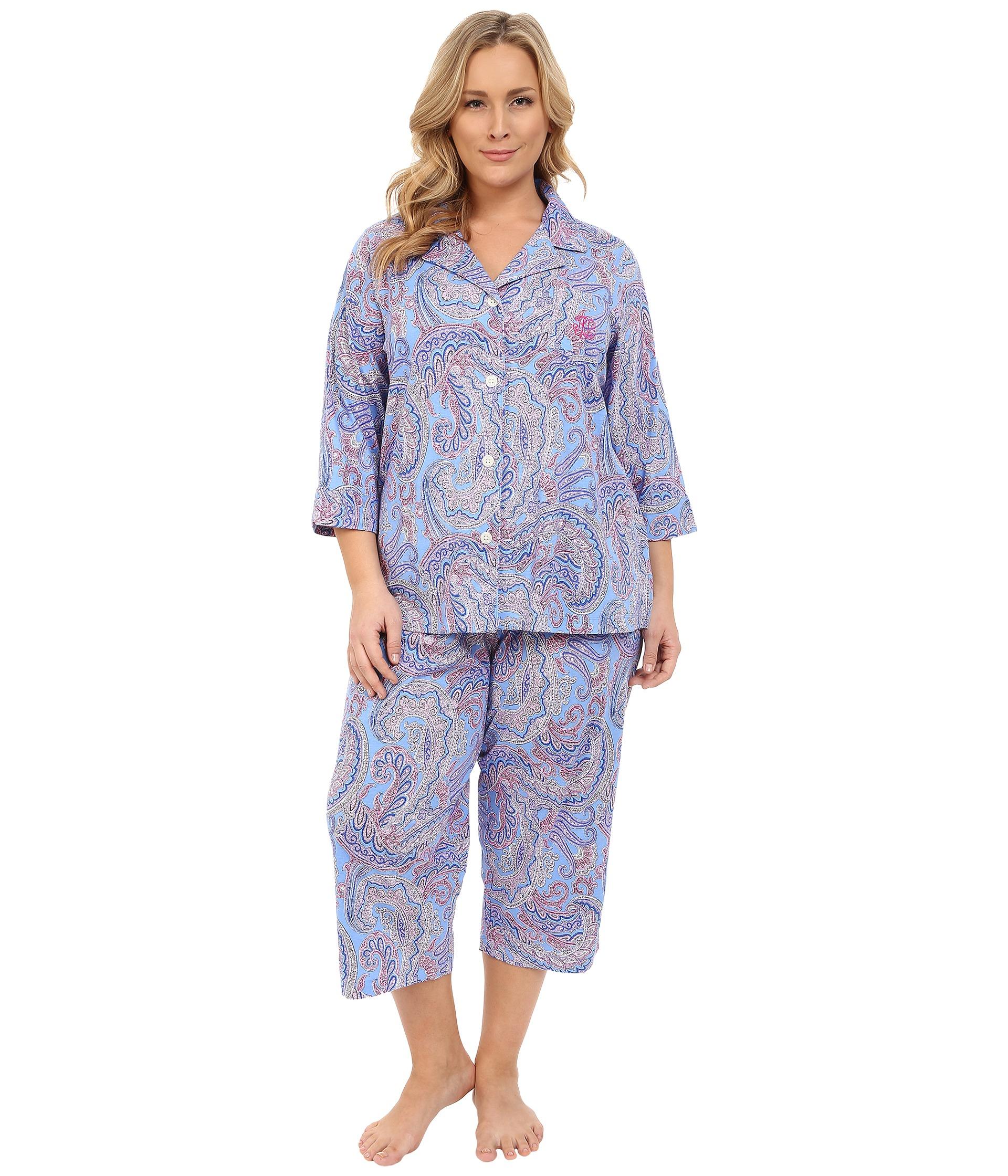 a9786fd03d1 Lauren by Ralph Lauren Plus Size Paisley Knit Notch Collar Capri ...