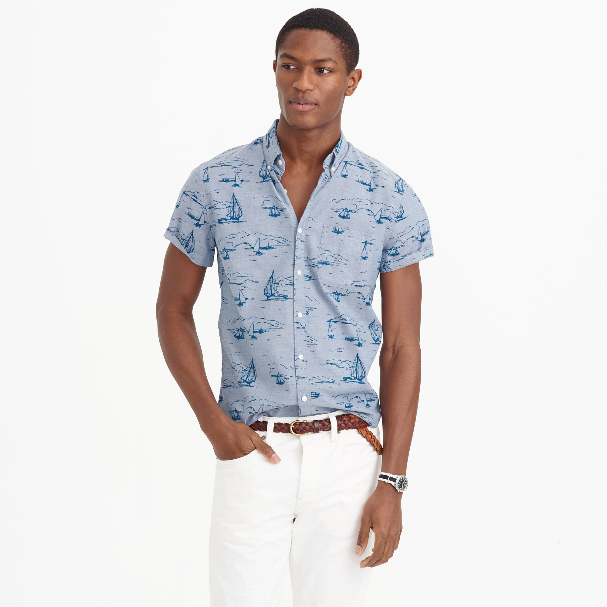 j crew sleeve shirt in sailboat print in blue for