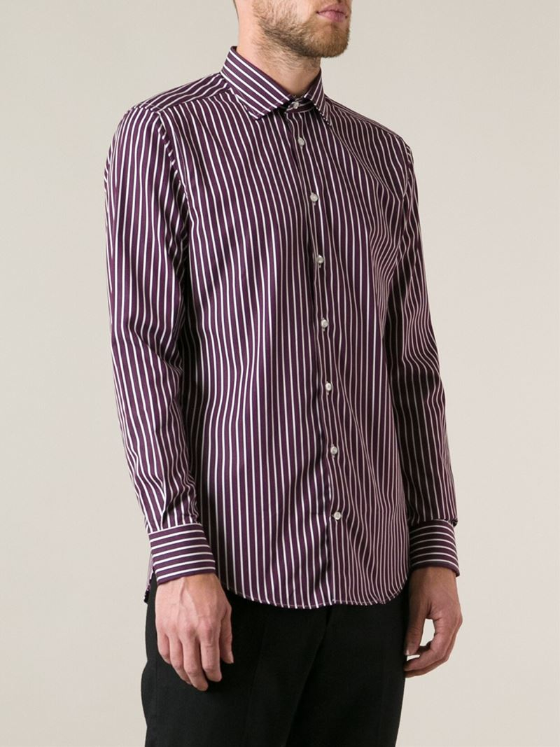 Etro striped shirt in purple for men lyst for Pink and purple striped rugby shirt