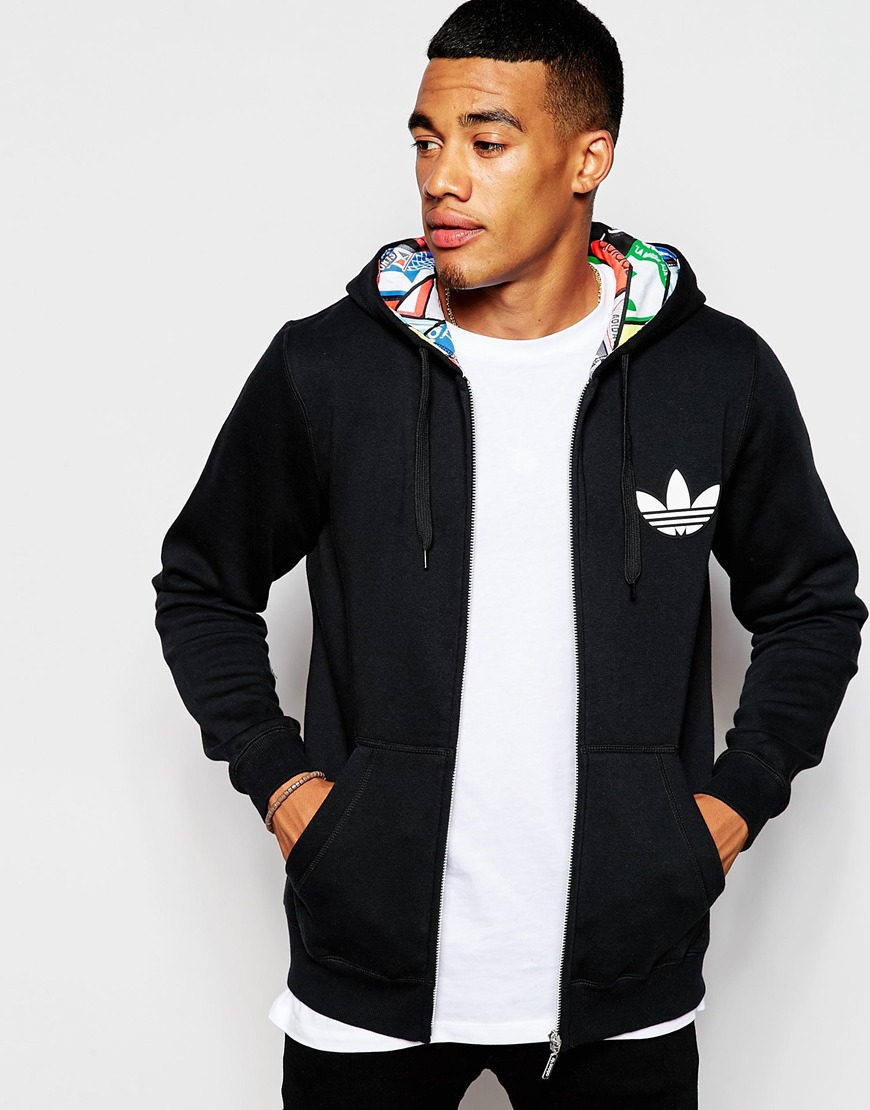 Lyst Adidas Originals Hoodie With Label Print Lining