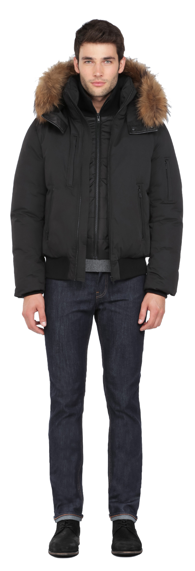 Soia & kyo Damien-n Black Bomber Down Jacket With Removable ...