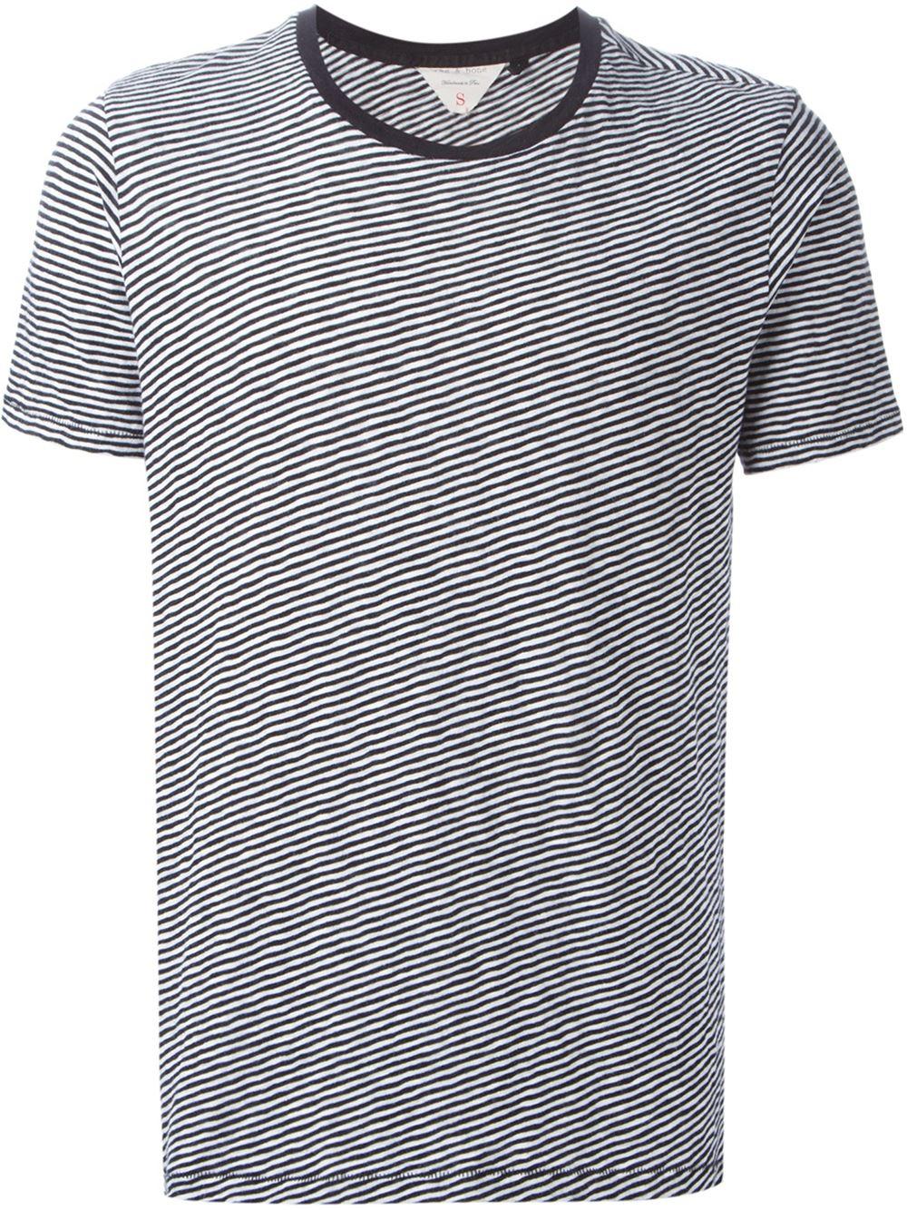 Lyst Rag Bone Striped T Shirt In Black For Men