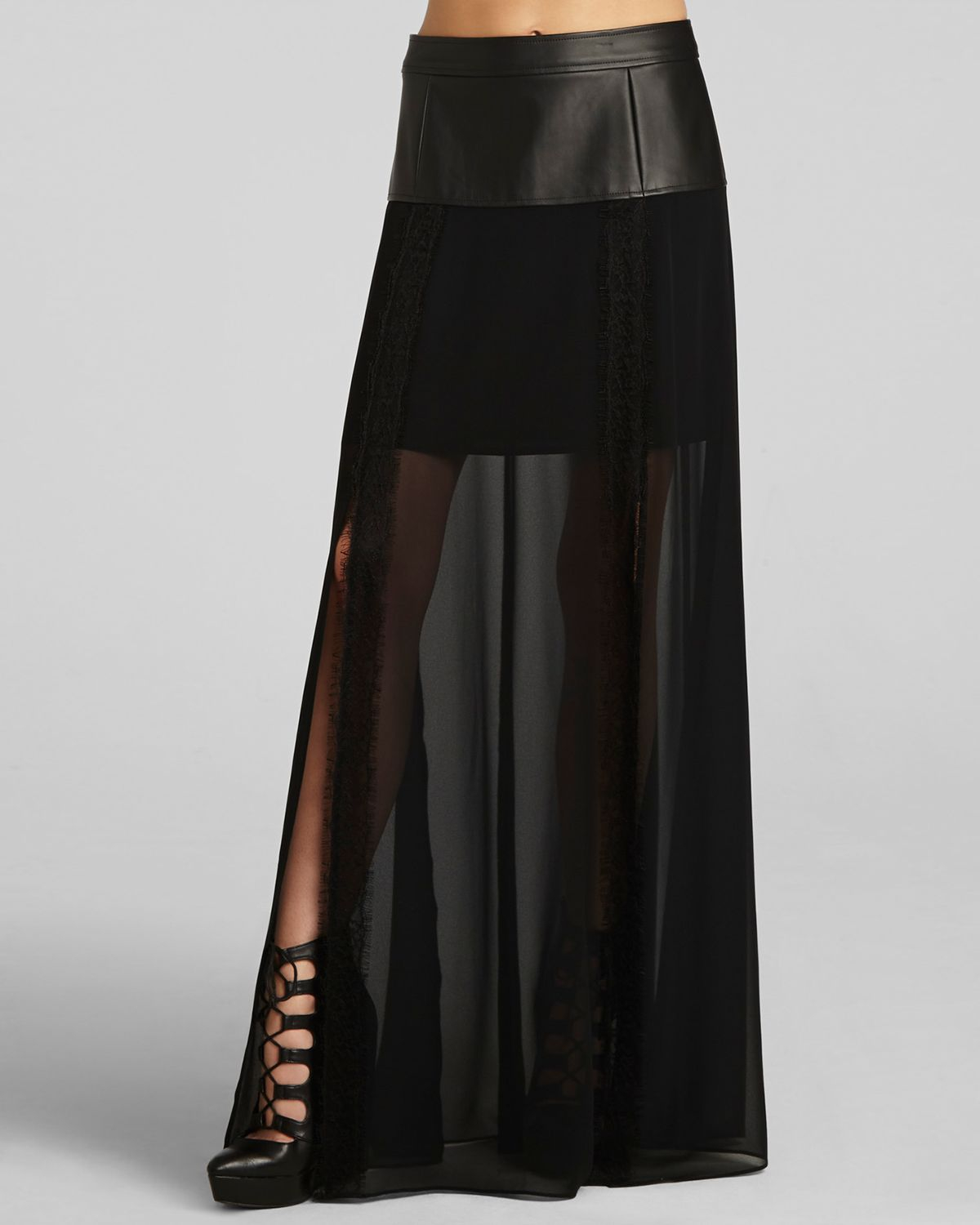 bcbgeneration maxi skirt faux leather and chiffon in black