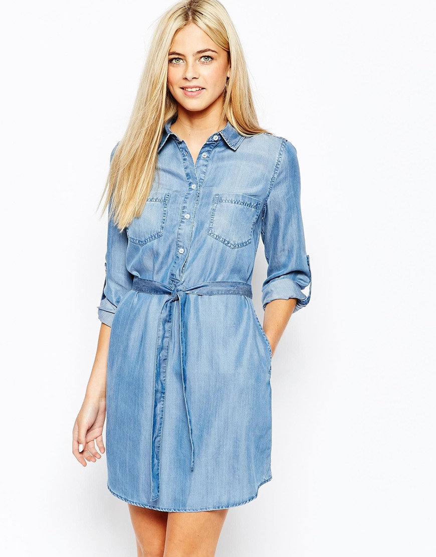 Lyst Oasis Belted Denim Shirt Dress In Blue