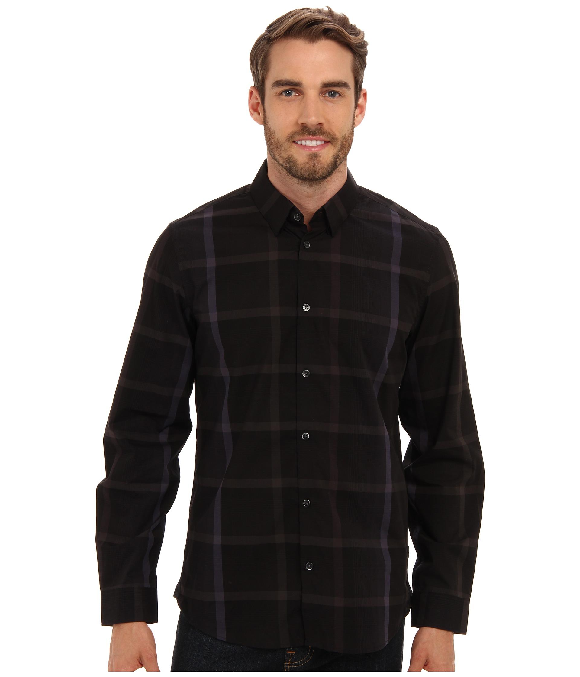 Calvin klein yd large ombre plaid hidden button down for Hidden button down collar shirts