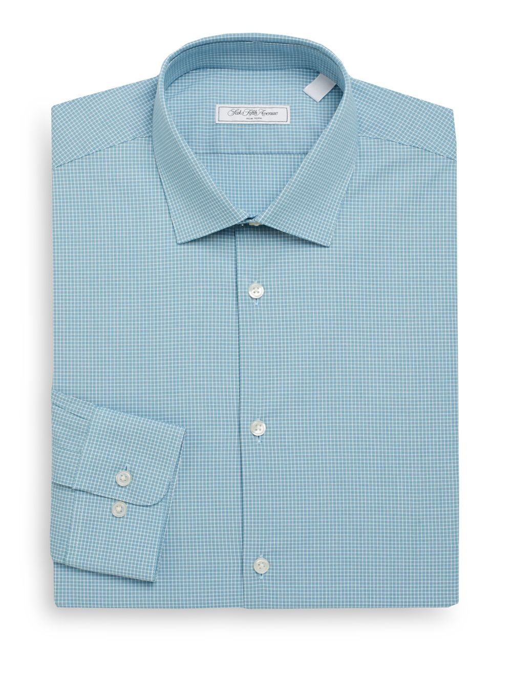 Lyst saks fifth avenue modern fit micro check dress for Modern fit dress shirt