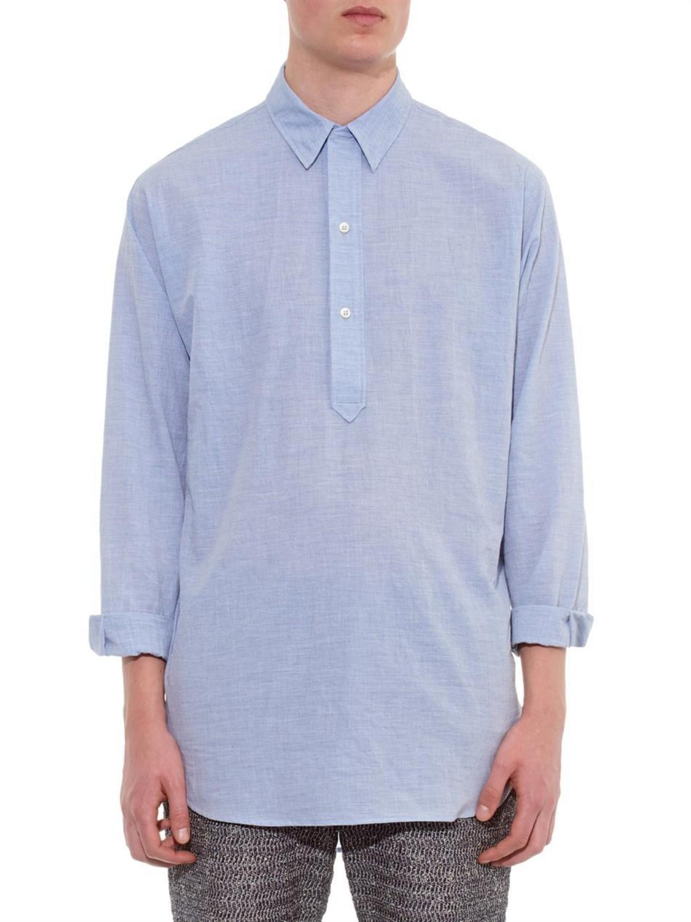 Raey Long Line Half Placket Cotton Shirt In Blue For Men