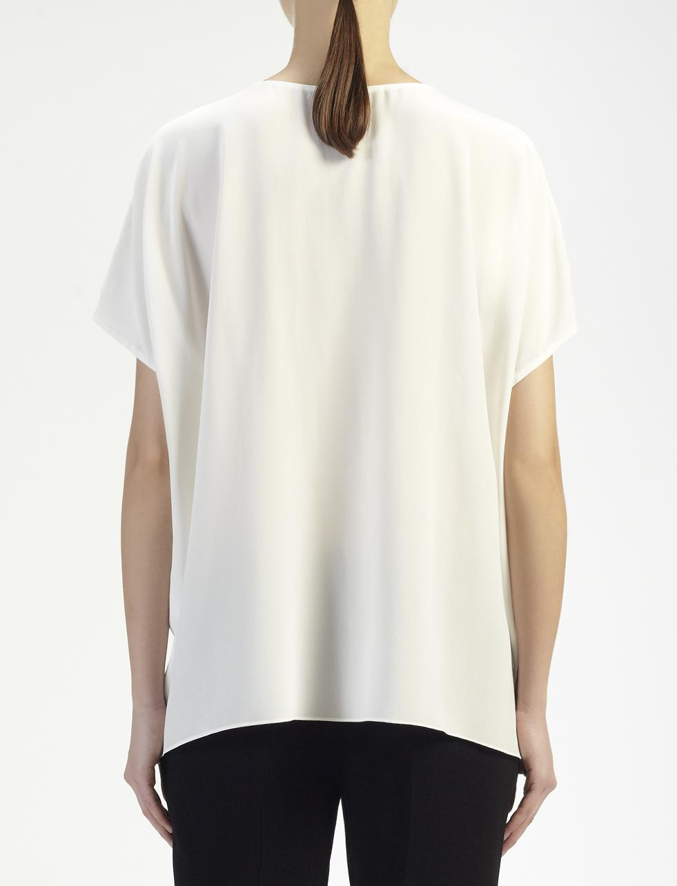 lyst joseph crepe de chine new pull blouse in white. Black Bedroom Furniture Sets. Home Design Ideas