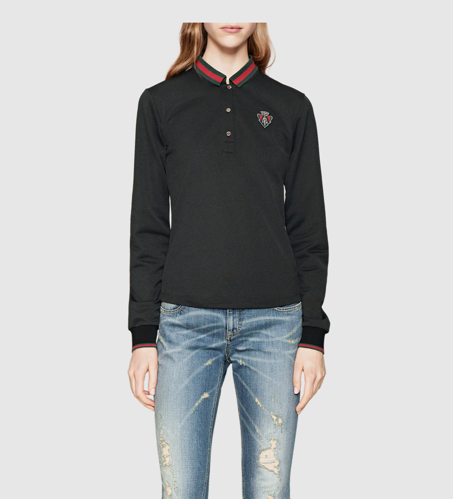 b80361d79c9 Lyst - Gucci Black Long Sleeve Polo With Small Crest From Equestrian ...